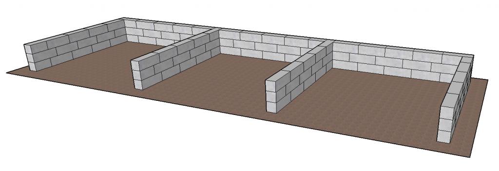 Byggeklodser i beton,  kummer og begrænsningsvægge