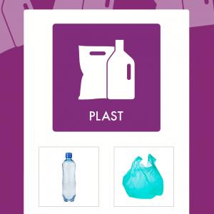 Plast affaldsskilt