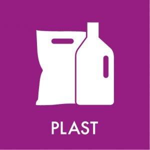 Plast klistermærke til affaldssortering