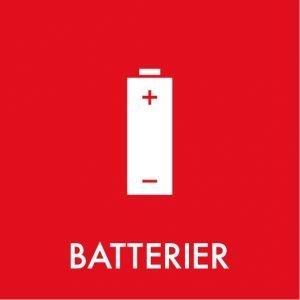 Batterier klistermærke til sortering af affald