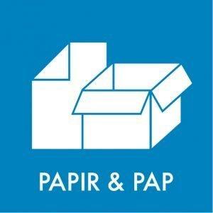 Papir og pap klistermærke til sortering af affald