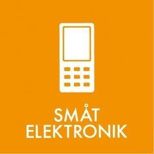 Småt elektronik klistermærke til sortering af affald
