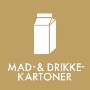 Mad og drikkekartoner klistermærke til sortering af affald