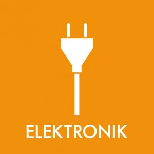 Elektronik klistermærke til sortering af affald