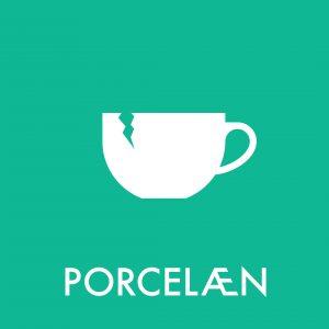 Porcelæn klistermærke til sortering af affald
